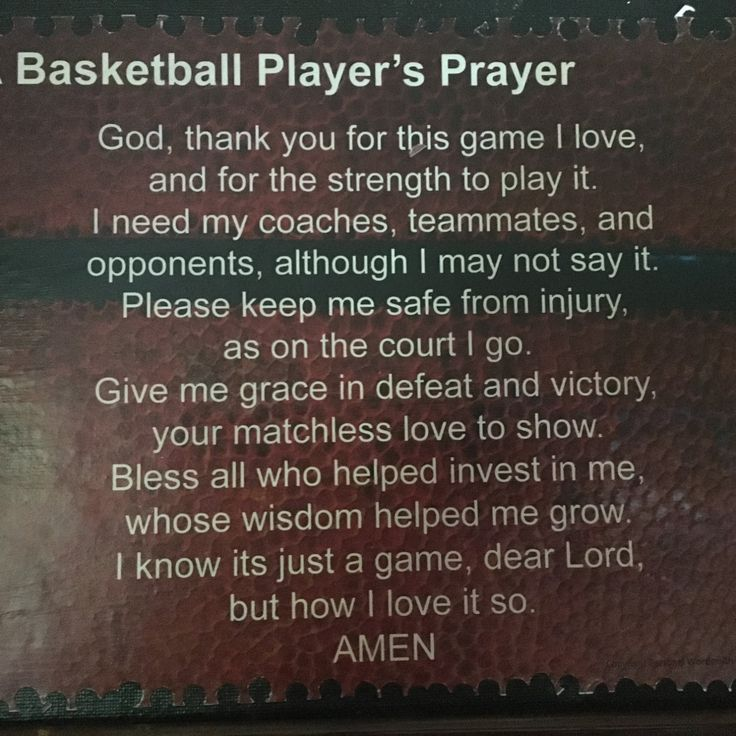 Basketball Player's Prayer Mounted, Basketball Poem on Canvas, Athlete's Prayer…