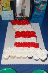 Dr. Seuss Cat in the Hat Cupcake Cake