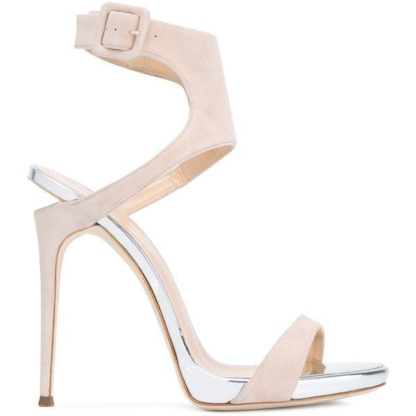 Giuseppe Zanotti Design notched heel sandals (1,075 CAD) ❤ liked on Polyvore featuring shoes, sandals, silver, stiletto sandals, strappy stilettos, giuseppe zanotti shoes, leather sole sandals and nude heeled sandals #giuseppezanottiheelssilver