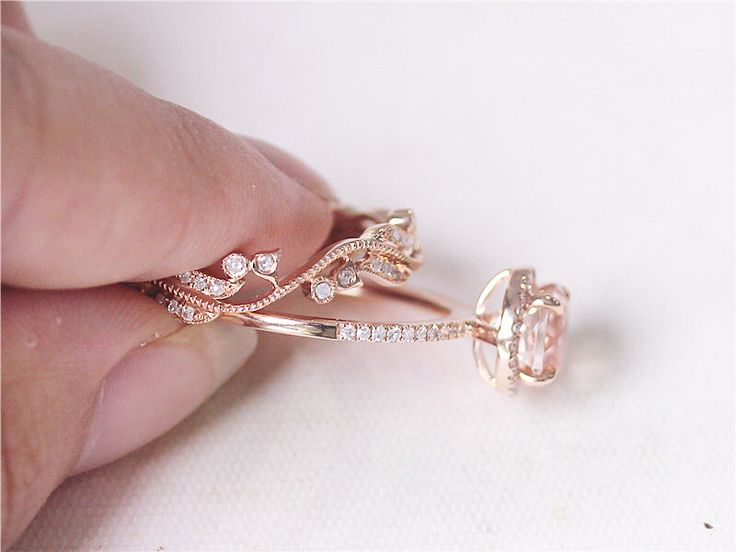 2 Rings Set Solid 14k Rose Gold Engagement Ring 7mm Round Morganite Anniversary