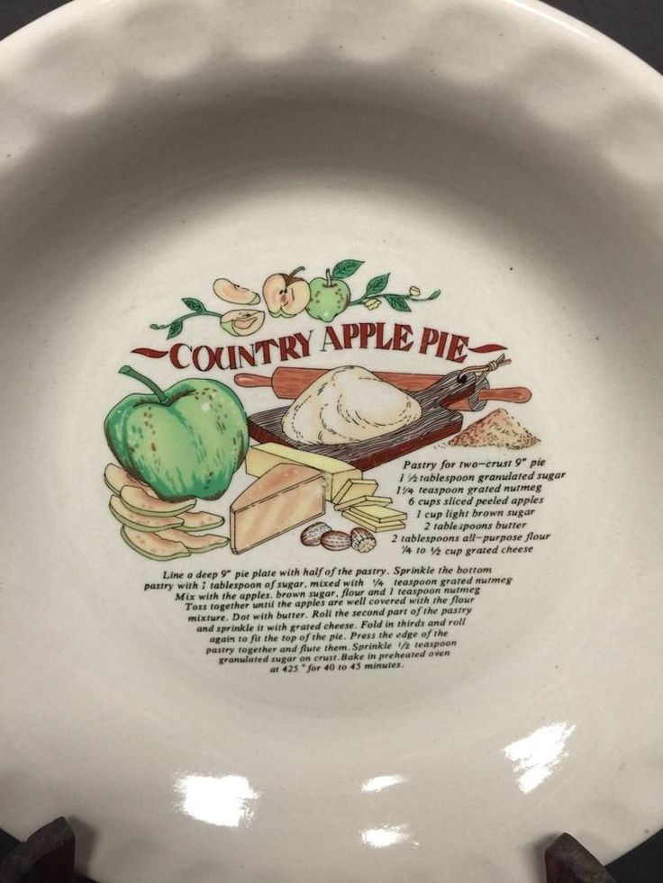 3 Ceramic Pie Plate Dishes with Recipes Country Apple Pie Pecan Pie Pumpkin Pie & 124 best Recipe Pie Plates images on Pinterest | Dinner plates Dish ...