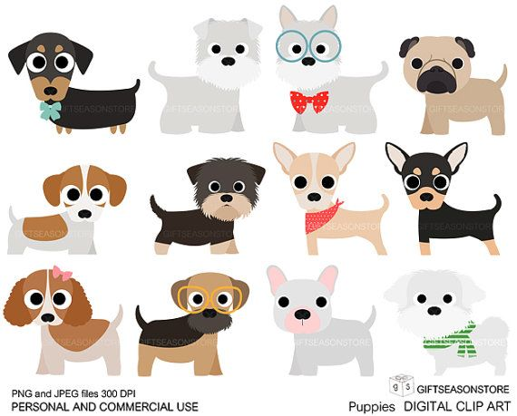 Puppies Digital clip art part 1 for Personal and Commercial