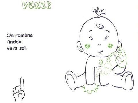 signe avec bébé VENIR
