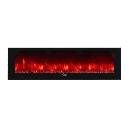Caesar Fireplace Chfp 102b Luxury Wallmount Recessed Freestanding Multicolor Flame Electric Fireplace With Backlight 102 Inch Size 102 Inch Wall Mount Electric Fireplace Electric Fireplace Recessed Electric Fireplace