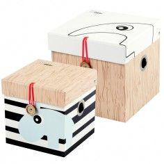 Lot de 2 boîtes de rangement carrées petit format - Done by deer