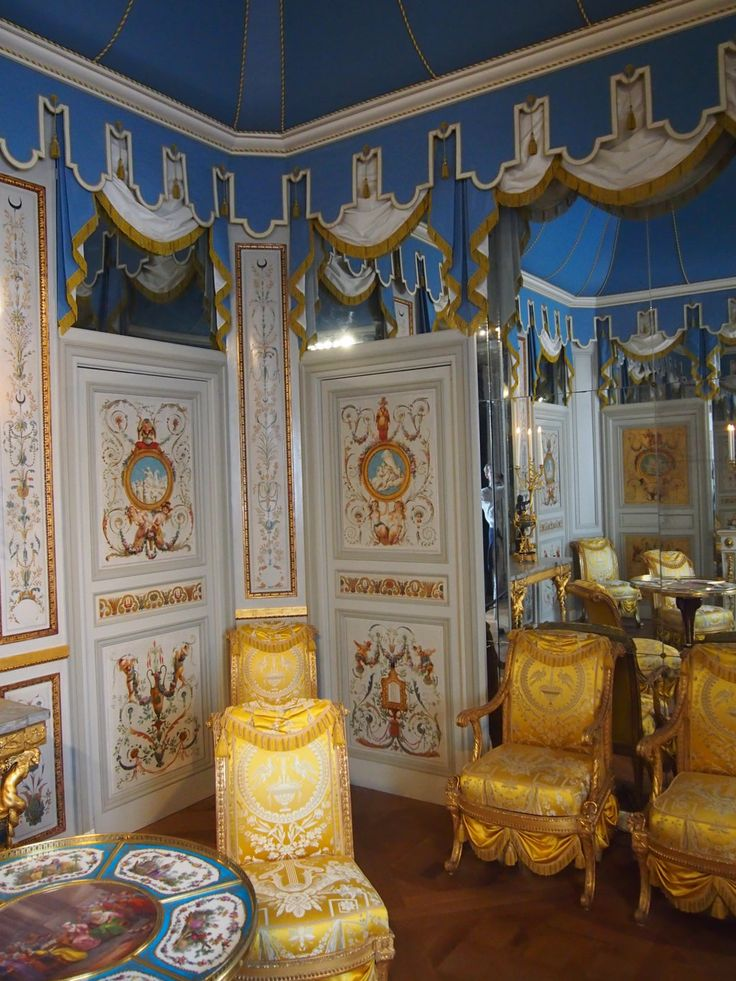 Count Artois, Louis XVI's youngest brother, offers us a different view of Transition style furniture; here we see a combination of oriental opulence and camp-like decore we will later encounter at Napoleon's residence in Rueil Malmaison.
