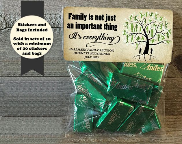 Family Reunion Stickers and Bags, Family Reunion Favors, Family Gatherings, Reunion Treat Bags, Reunion Party Favor Stickers and Bags by PartiesR4Fun on Etsy