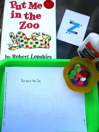 My mom is reading Put Me in the Zoo to my son's preschool class.  Thought this might be a cute extension.  Think I would just use dot stickers, which I have a ton of.