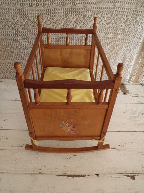 Sweet vintage baby doll cradle solid wood by Wooden baby doll furniture