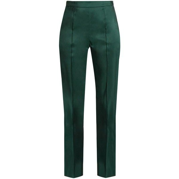 Rosie Assoulin Oboe silk-faille slim-fit trousers (931.180 CLP) ❤ liked on Polyvore featuring pants, trousers, dark green, high waisted pants, green trousers, slim trousers, high-waisted trousers and green pants