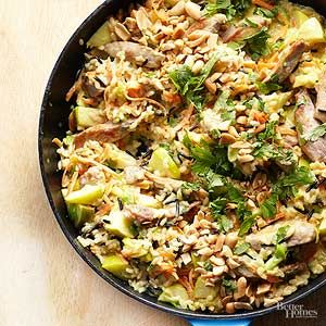 If you can't find unseasoned wild and brown rice blend for this 30-minute pork skillet meal, substitute two 8.8 ounce pouches cooked long grain and wild rice blend.