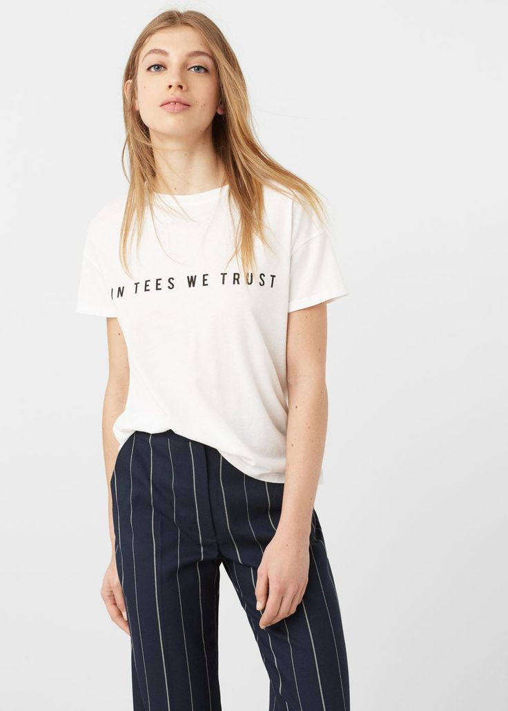 Message cotton t-shirt -  Woman | MANGO Romania