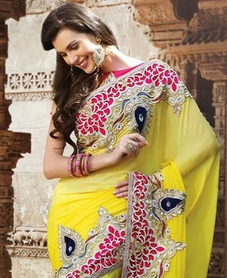 yellow Party Wear Sarees, Beautifully Designed With Zari, Resham embroidery with stone work and patch patta Work, Matching Blouse Piece with Saree, Color: yellow, Fabric: Georgette - ASI0285-520