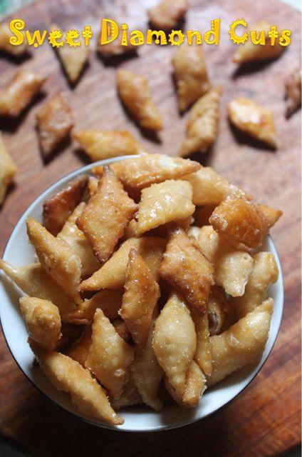 YUMMY TUMMY: Sweet Diamond Cuts Recipe - Maida Biscuits Recipe - Easy Diwali Sweets Recipe
