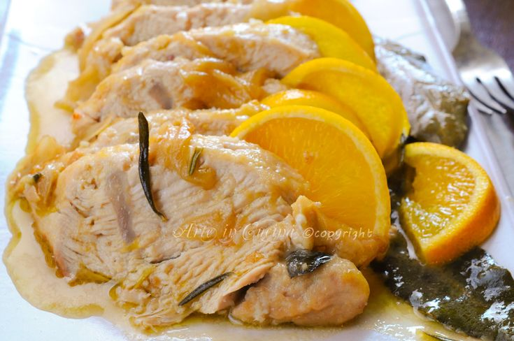 Tacchino all'arancia al forno ricetta facile, veloce, secondo economico, ricetta per le feste, idea semplice, secondo veloce, preparare in anticipo, salsa all'arancia