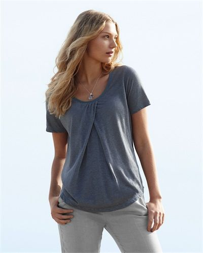 Poetry - Marled Linen Jersey Top - In a range of soft, marled colourways, this linen t-shirt has little gathers at the neckline for a loose and flattering fit. Short sleeved and trimmed at the neckline with a tonal cotton trim, its a go-to piece for summer. 100% Linen