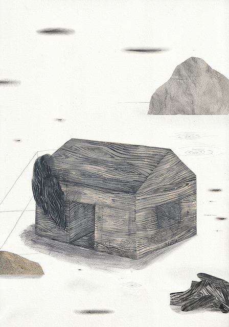 caroline gaedechens - collage + gouache + coloured pencil + charcoal on paper - tell the sleeping from the waking (2011)