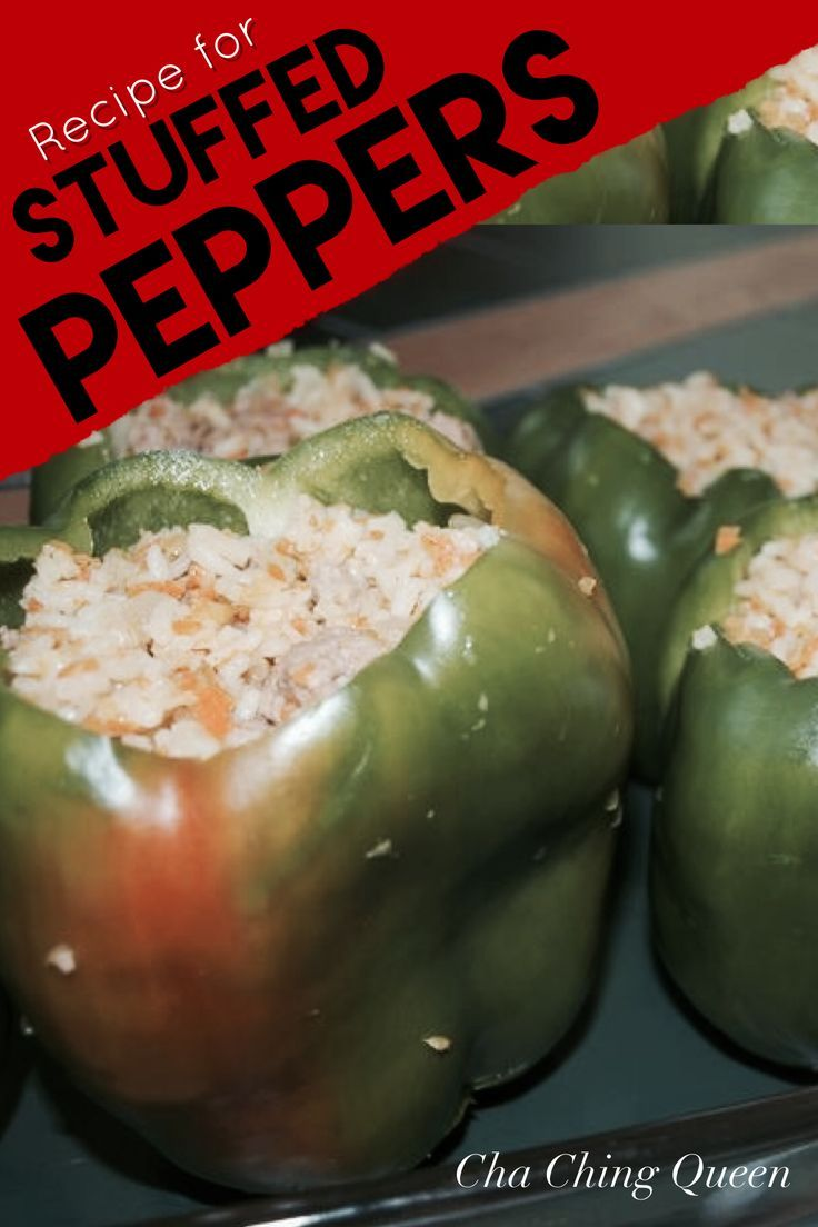 Stuffed Peppers Easy Freezable Dinner Meal Recipe Cha Ching Queen Stuffed Peppers Freezable Dinners Recipe For Stuffed Bell Peppers