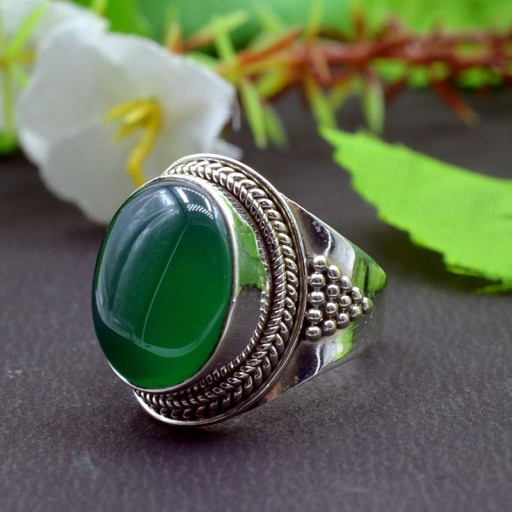 925 Solid Sterling Silver Green Onyx Gemstone Handmade Mens Ring Size 9 US R773 #Handmade #Cluster #Party