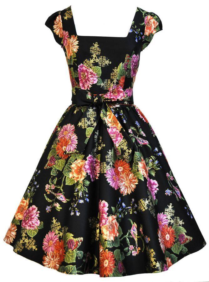Vintage 50s Retro Gold Leaf Carnation Bird Swing Rockabilly šaty - vampire, gothic, emo, lolita, burlesque, retro, pin-up, shop