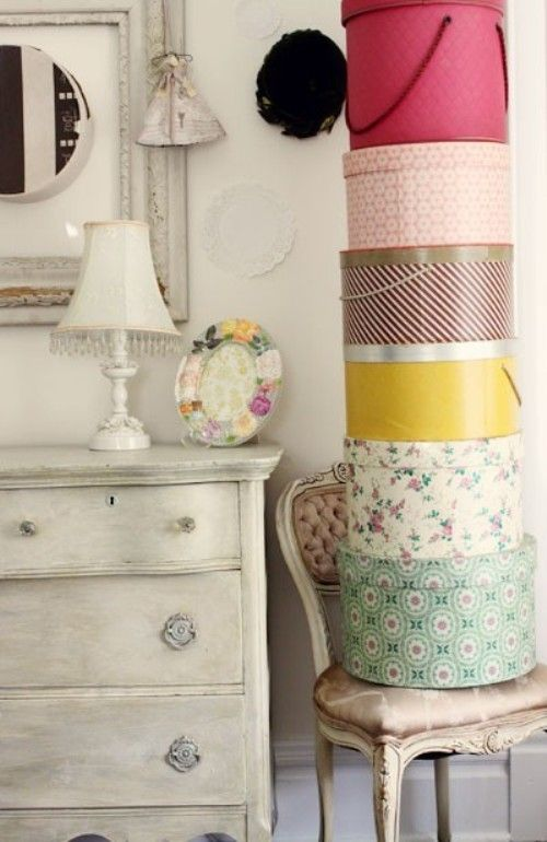 Maybe in the colors of the Five Elements or the Six True Words: Hats Boxes, Vintage Dressers, Shabby Chic, Dreams Rooms, Traditional Bedrooms, Hatbox Storage, Vintage Hats, Boxes Storage, Girls Rooms