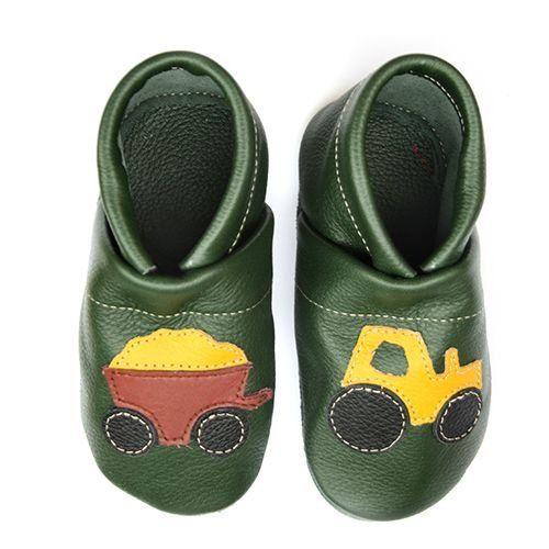 pantau.eu Krabbelschuhe Traktor mit Anhänger, Grün-Gelb-Braun, Größe 19 - http://on-line-kaufen.de/pantau-eu/19-fusslaenge-bis-12-1cm-sohlenlaenge-13-1cm-eu-mit-28