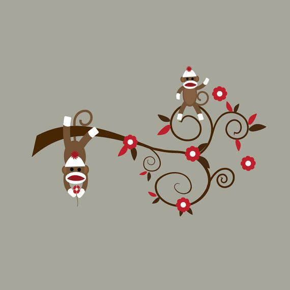 Wall Decals Vinyl Wall Decal Sticker Sock Monkey by Modernwalls, $49.00
