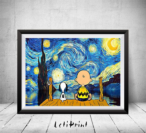 Snoopy and Charlie Brown Print, Starry Night Print, Charlie Brown, Snoopy Art, Snoopy Wall Art Decor, Snoopy Poster, Kids Decor, Peanuts Art PLEASE NOTE that the frame here is NOT included in the sale, it's for illustrative purposes only. The page size is : International paper A5- 5.8 x