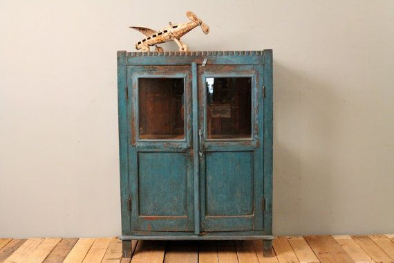 Antique Indian Chippy Blue Bathroom Kitchen Storage Curio Glass Cabin
