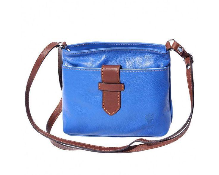 - Crossbody tas van zacht kalfsleder metal blauw bruin kleur