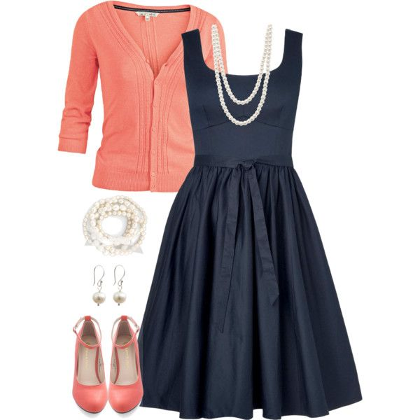 Navy and Coral | created by jamie-burditt on Polyvore