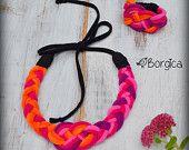 Nodo nautico viola arancio rosa treccia filato Tshirt collana e bracciale - gioielli tessuto riciclato Eco-Friendly gioielli braccialetto Upcycled