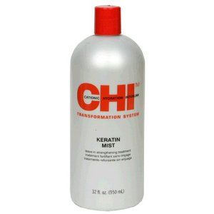 CHI Keratin Mist Leave-In Strengthening Treatment, 32 Fluid Ounce (950 ml) by CHI. $27.75. Design House: CHI. Cationic Hydration Interlink. Transformation system. CHI Keratin Mist is specifically developed to work in conjunction with the CHI line. CHI Keratin Mist with Cationic Hydration Interlink and proteins is an advance leave in spray to provide hair wiht strength, protection and softness while leaving hair silky and shiny with incredible manageability. Ma...