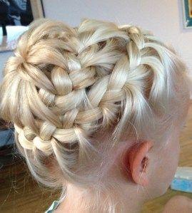 Lace braid headband into starburst bun (I like the fishtail starburst bun on this website too)