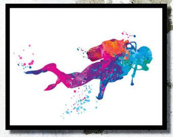 Scuba diving girl Watercolor painting Print by WatercolorBook