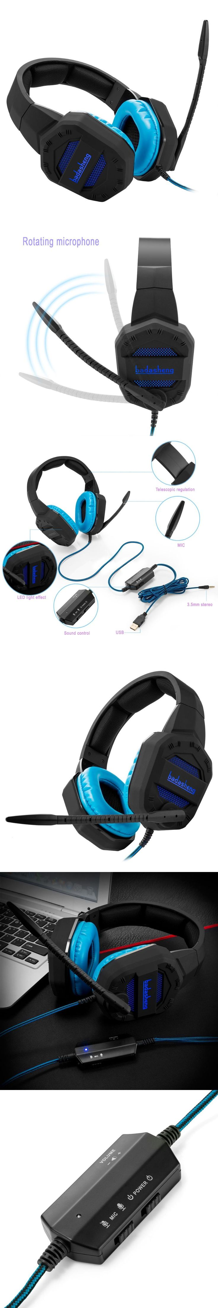 LED Light PS4 headphone headsets for PS4 Xbox one USB with 3.5mm plug headsets for gaming console