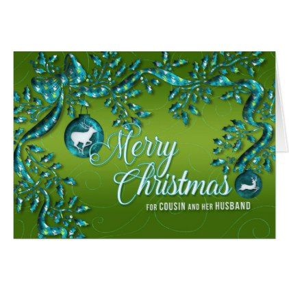 #for Cousin and Her Husband Green and Turquoise Card - #Xmas #ChristmasEve Christmas Eve #Christmas #merry #xmas #family #kids #gifts #holidays #Santa