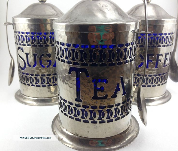 Sheffield England Silver Plate Coffee Tea Sugar Canisters