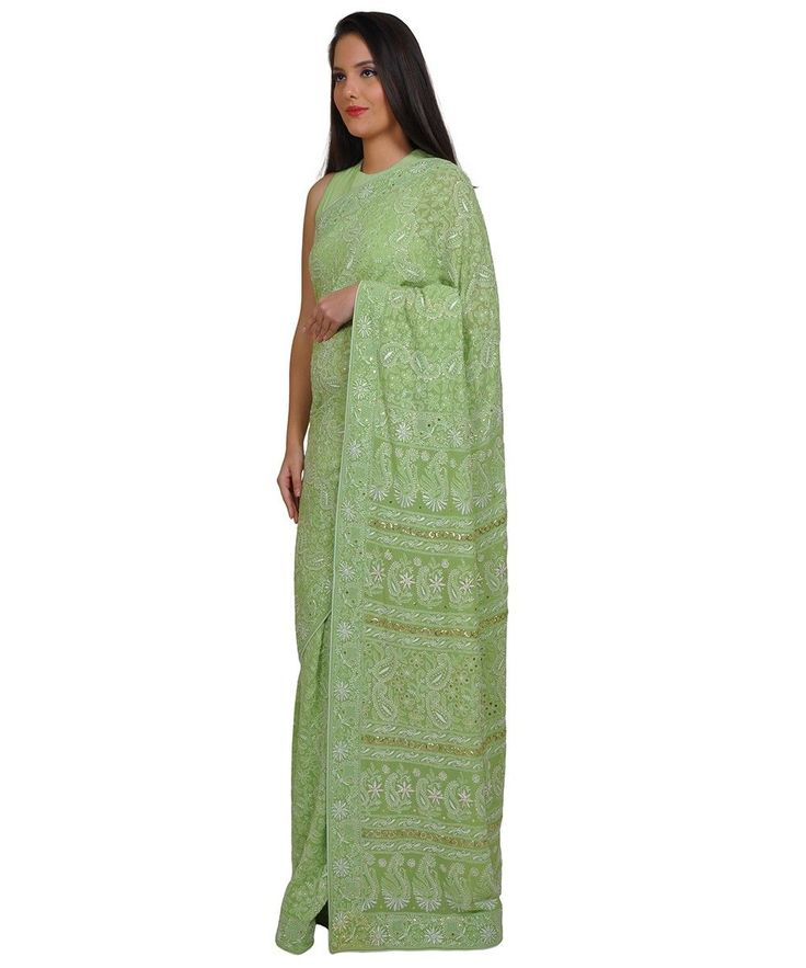Pastel Green Heirloom Quality Resham Chikankari and kamdaani Saree