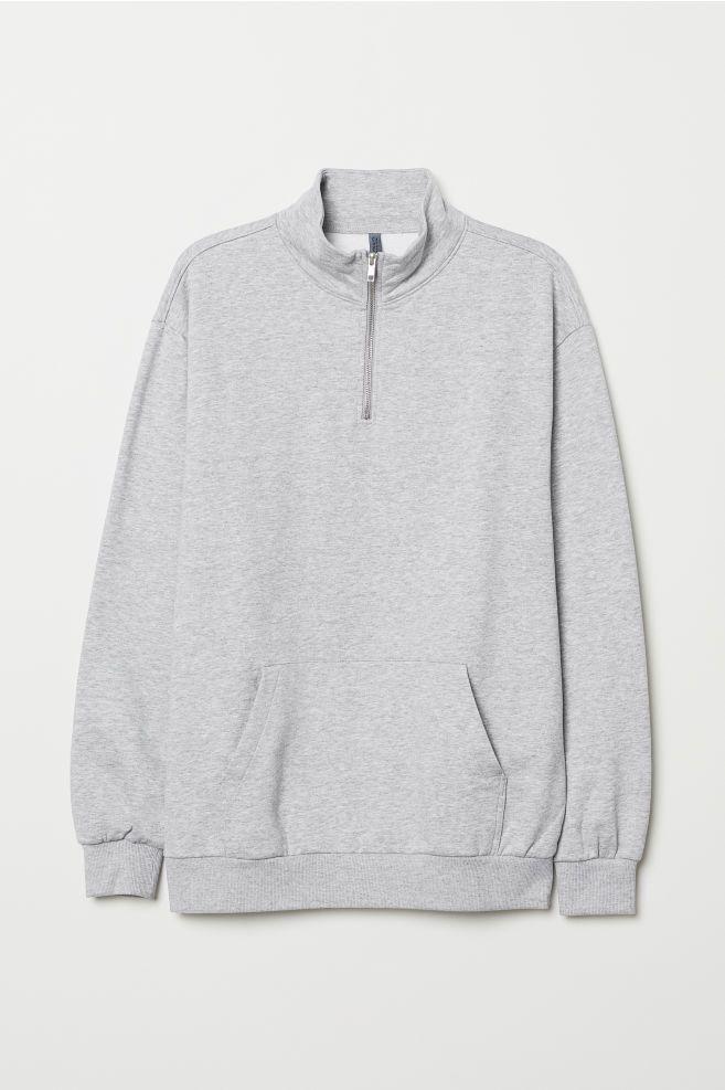 5b04b0ed8d7 Stand-up Collar Sweatshirt - Gray melange - Men