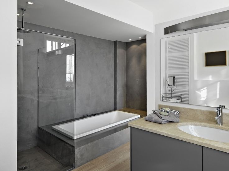 1000 id es sur le th me salle de bains moderne rustique for Beton mineral sur carrelage