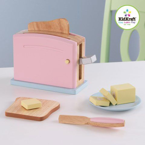 Wooden Pastel Toaster setby KidkraftPastel Toaster Set, young chefs will be making delicious pretend toast in no time. The wooden toaster is interactive and looks just like mum and dad's at home! Features includes:  • Pop-up toaster • Stick of butter that can easily be pulled into smaller pieces and then put back together • 2 slices of pretend bread • Butter plate • Butter knife • Made of composite wooden products • No assembly required