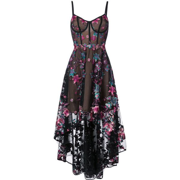 Marchesa Notte floral embroidered high-low dress (87.115 RUB) ❤ liked on Polyvore featuring dresses, gowns, vestidos, black, hi low dress, embroidered gown, floral embroidered dress, high low evening dresses and corset gown