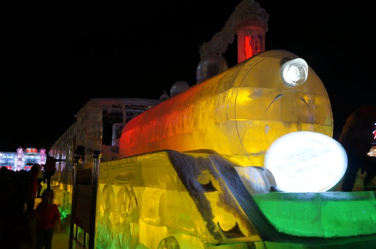 Icy train sculpture nods to Harbin's long railway history. Image by Anita Isalska / Lonely Planet