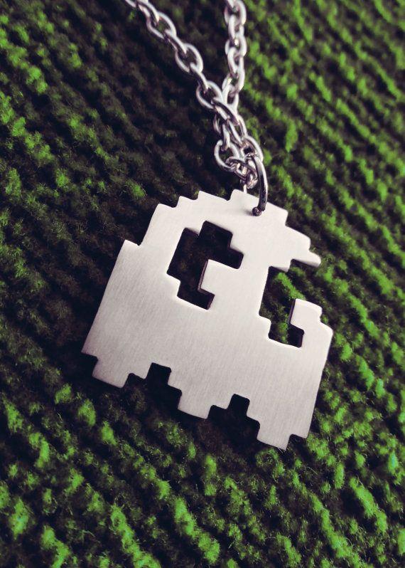 Pacman Pixel Art Ghost Geek Pendant Necklace by Graphmagics, $20.00