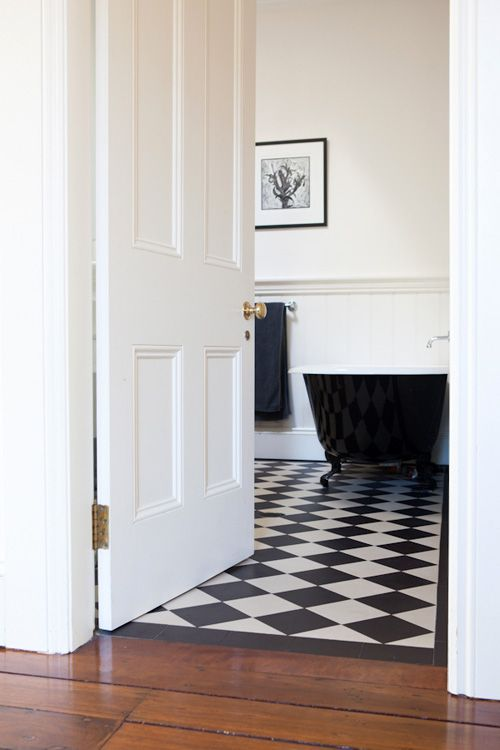 Beautiful classic Victorian bathroom  woodblock by Belinda Bateman Photo Rachel Kara Production Best 25 Black and white flooring ideas on Pinterest