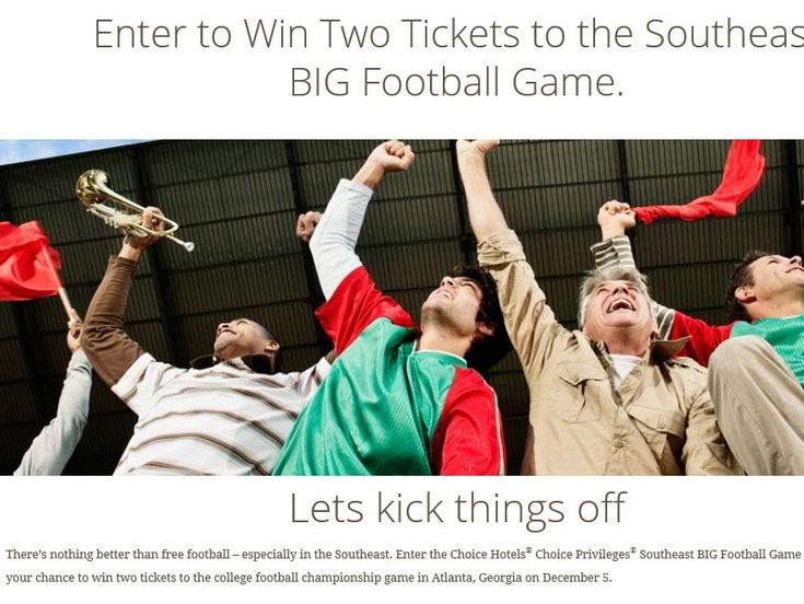 Enter The Choice Hotels Privileges Southeast Football Sweepstakes For A Chance To Win