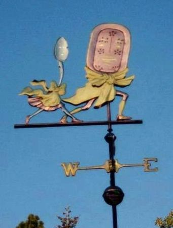 This has been a popular weather vane for families, restaurants, nursery schools and child care centers.It was designed inOctober 2005 as the showcase piece for theWindblown Art Exhibit at the Norman Rockwell Museum in Stockbridge Massachusetts. We applied optional gold leaf to the copper on thebows and leggings, and palladium leaf to the spoon, creating …