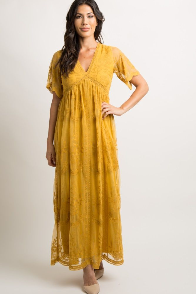 d071cbfdd8a27 Mustard Lace Mesh Overlay Maternity Maxi Dress | Style this in 2019 ...