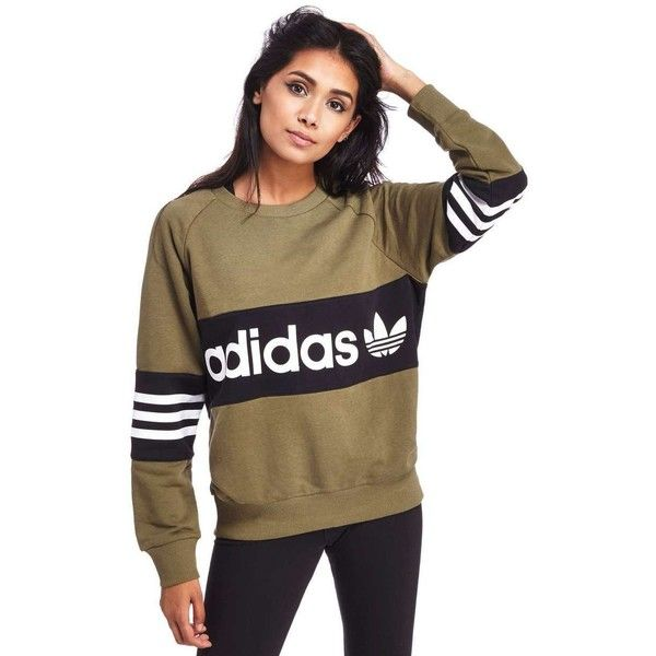adidas Originals Street Crew Sweatshirt (£45) ❤ liked on Polyvore featuring tops, hoodies, sweatshirts, retro crew neck sweatshirts, color-block sweatshirt, color block sweatshirt, striped top and slouchy sweatshirt